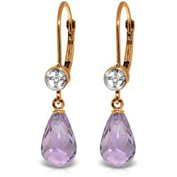 4.53 ctw Amethyst & Diamond Earrings Jewelry 14KT Rose Gold