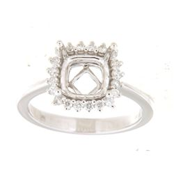 Genuine 14K White Gold 0.26CTW Diamond Semi Mount Ring - REF-55K3R