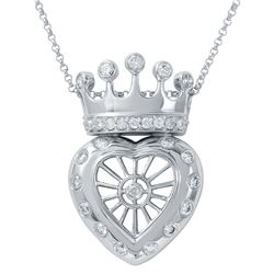 Genuine 0.8 TCW 14K White Gold Ladies Necklace - REF-95W2G