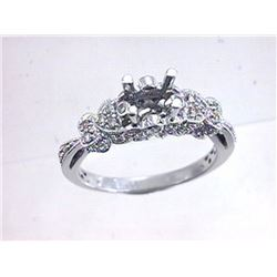 Genuine 14K White Gold 0.32CTW Diamond Semi Mount Ring - REF-52F4N