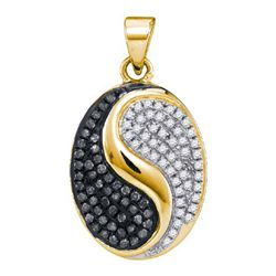 0.33CTW White and Black Diamond Micro-Pave 10KT Pendant Yellow Gold