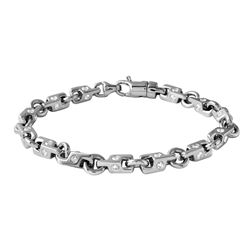 Genuine 3.82 TCW 14K White Gold Gents Bracelet - REF-473Y4Z