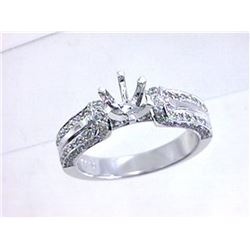 Genuine 14K White Gold 0.65CTW Diamond Semi Mount Ring - REF-94Z2T