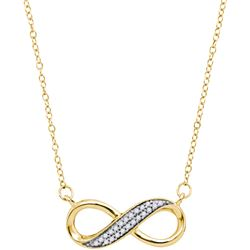 0.02CT Diamond Infinity 10KT Necklace Yellow Gold