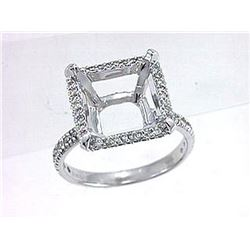 Genuine 14K White Gold 0.55CTW Diamond Semi Mount Ring - REF-52T3K