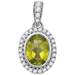 0.15CT Diamond and 1CT Peridot Anniversary 14KT Pendant White Gold