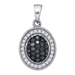 0.35CTW White and Black Diamond Micro-Pave 10KT Pendant White Gold