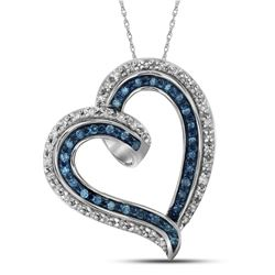 0.20CTW White and Blue Diamond Heart 10KT Pendant White Gold