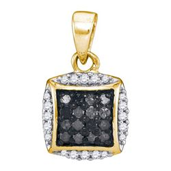 0.25CT Diamond Micro-Pave 10KT Pendant Yellow Gold