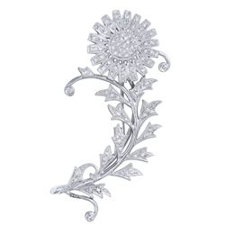 Genuine 1.2 TCW 14K White Gold Ladies Brooch - REF-187F3N