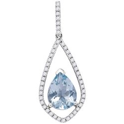 0.25CT Diamond and 1.20CT Aquamarine Anniversary 14KT Pendant White Gold