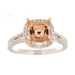 Genuine 14K Two Tone Gold 0.39CTW Diamond Semi Mount Ring - REF-64T3K