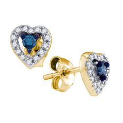 0.20CTW White and Blue Diamond Heart 10KT Earrings Yellow Gold