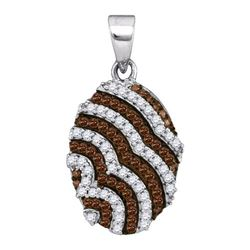 0.33CTW White and Champagne Diamond Micro-Pave 10KT Pendant White Gold