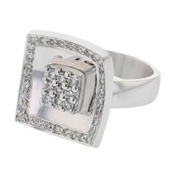 Genuine 18K White Gold 0.69CTW Diamond Cocktail Ring - REF-170F4N