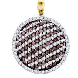 2.20CTW White and Champagne Diamond Circle 10KT Pendant Yellow Gold