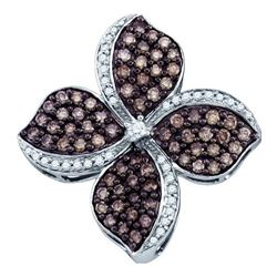 1.0CTW White and Champagne Diamond Flower 10KT Pendant White Gold
