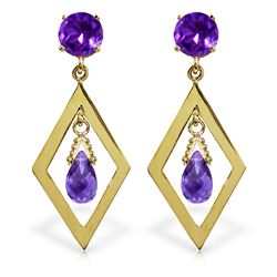 2.4 ctw Amethyst Earrings Jewelry 14KT Yellow Gold