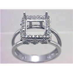 Genuine 14K White Gold 0.38CTW Diamond Semi Mount Ring - REF-58A4X