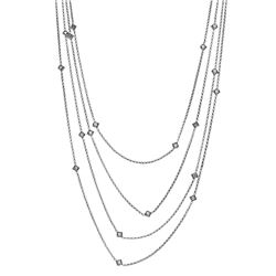 Genuine 0.96 TCW 14K White Gold Ladies Necklace - REF-112X8Y