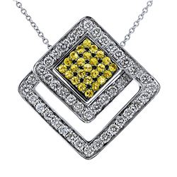 Genuine 14KTwoTone Gold 1.41CTW Diamond&Sapphire Pendant w/ Chain - REF-95K5R