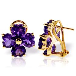 6.5 ctw Amethyst Earrings Jewelry 14KT Yellow Gold