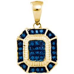 0.02CTW White and Blue Diamond Anniversary 10KT Pendant Yellow Gold