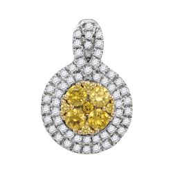 1.0CTW White and Yellow Diamond Anniversary 14KT Pendant White Gold