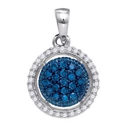 0.20CTW White and Blue Diamond Anniversary 10KT Pendant White Gold