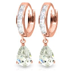 4.2 ctw White Topaz Earrings Jewelry 14KT Rose Gold