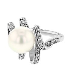 Genuine 14K White Gold 13.41CTW Pearl&Diamond Pearl Ring - REF-30X7Y