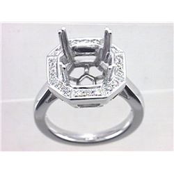 Genuine 14K White Gold 0.29CTW Diamond Semi Mount Ring - REF-75A2X
