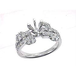 Genuine 18K White Gold 0.38CTW Diamond Semi Mount Ring - REF-105Y2Z