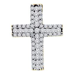 0.50CT Diamond Cross 14KT Pendant Yellow Gold