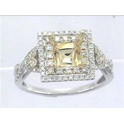 Genuine 14K Two Tone Gold 0.43CTW Diamond Semi Mount Ring - REF-52X2Y