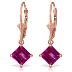 3.2 ctw Pink Topaz Earrings Jewelry 14KT Rose Gold