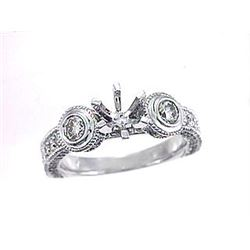 Genuine 14K White Gold 0.86CTW Diamond Semi Mount Ring - REF-107H5W