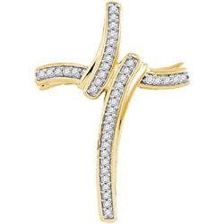 0.12CT Diamond Cross 10KT Pendant Yellow Gold