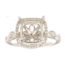 Genuine 14K White Gold 0.36CTW Diamond Semi Mount Ring - REF-64G9M