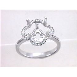 Genuine 14K White Gold 0.34CTW Diamond Semi Mount Ring - REF-41M9F
