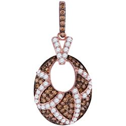 1.0CTW White and Champagne Diamond Anniversary 10KT Pendant Rose Gold