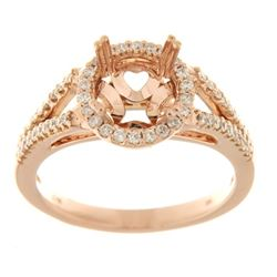 Genuine 14K Rose Gold 0.37CTW Diamond Semi Mount Ring - REF-70A4X
