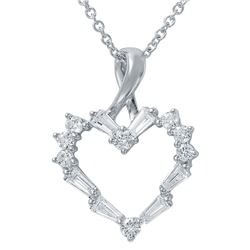 Genuine 0.53 TCW 14K White Gold Ladies Necklace - REF-61N6A