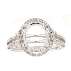 Genuine 14K White Gold 0.31CTW Diamond Semi Mount Ring - REF-60Z3T