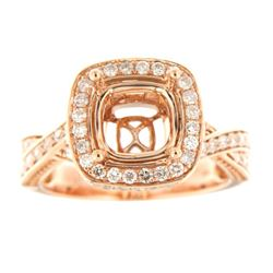 Genuine 14K Rose Gold 0.93CTW Diamond Semi Mount Ring - REF-121Z9T