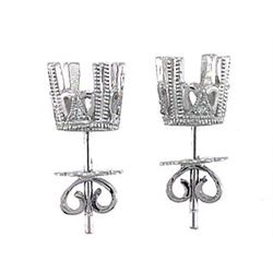 Platinum 0.04CTW Diamond Semi-Mount Earrings - REF-72T2K