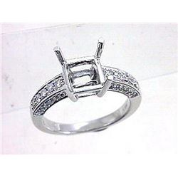 Genuine 14K White Gold 0.33CTW Diamond Semi Mount Ring - REF-67T7K