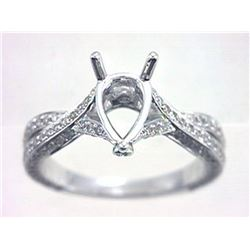 Genuine 14K White Gold 0.82CTW Diamond Semi Mount Ring - REF-81Y2Z