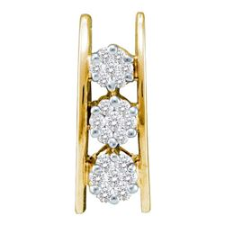 0.25CT Diamond Flower 14KT Pendant Yellow Gold