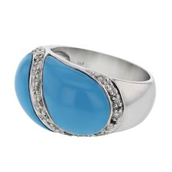 Genuine 14K WhiteGold 4.32CTW Turquoise Fashion Ring - REF-76K3R